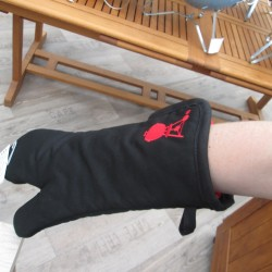 Grilovací rukavice s červeným kotlovým grilem, černá