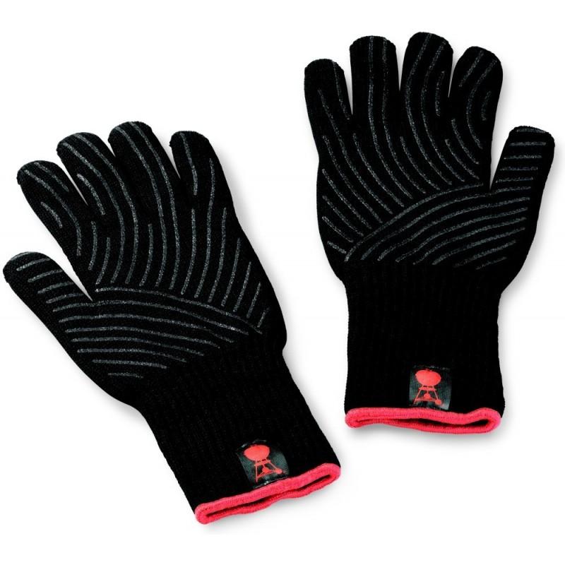 Sada grilovacích rukavic Premium - velikost S/M, černé, žáruvzdorné Weber