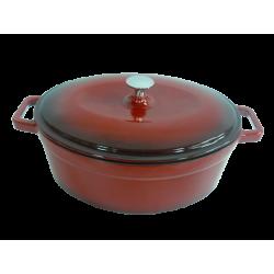 Červený litinový hrnec s poklicí 30 x 23 cm