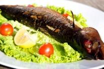 Rybu můžeme podávat teplou s čerstvou zeninou a pečivem, nebo i zastudena.