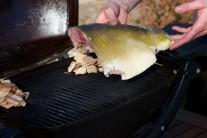 Poté dáme kapří filety na rozpálený gril vedle udících lupínků.