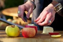 Dále jablka naplníme rozinkami a ořechy podle chuti, zakápneme medem a navrch položíme kousek másla.