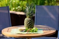 Připravíme si celý ananas, cukr, skořici a čerstvou mátu.