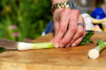Dále si připravíme nadrobno nakrájenou jarní cibulku.