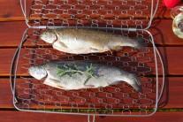 Zdravě můžeme ryby připravit na grilu s pomocí koše na ryby ve dvou velikostech. My jsme vyzkoušeli Weber držák na rybu velký. Do tohoto držáku je možné podle velikosti  umístit 2 - 3 pstruhy.